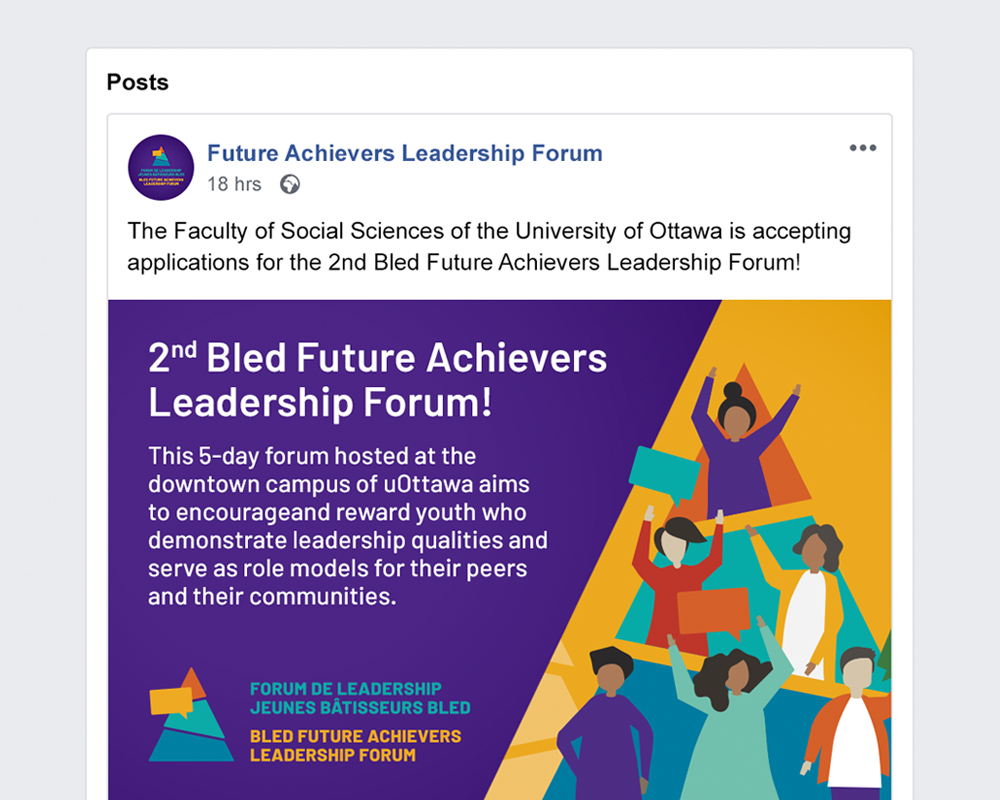University of Ottawa / Bled Future Achievers Leadership Forum / template for facebook visual