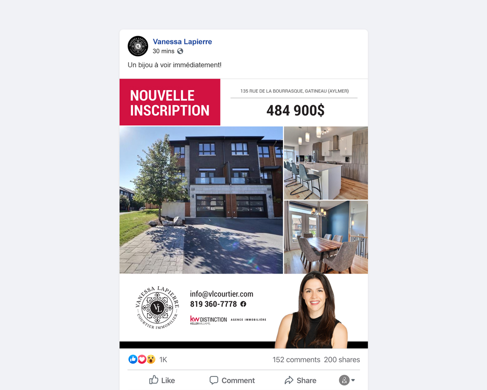 Vanessa Lapierre / property templates for Facebook